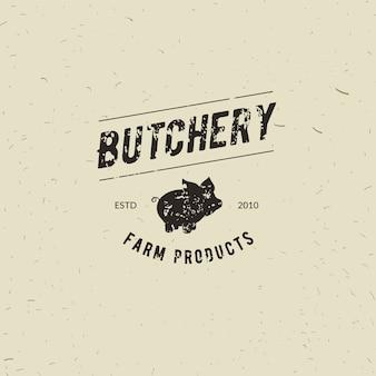 Emblem der butchery-fleischerei mit schweinschattenbild, simsen die butchery, frischfleisch, bauernhofprodukte. logoschablone für fleischgeschäft - landwirtshop, markt, restaurant oder design - fahne, aufkleber.