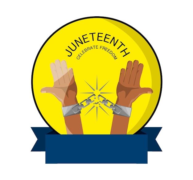 Emblem der hände mit kette und band, zum der freiheit zu feiern