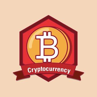 Emblem der kryptowährung mit bitcoin-münze
