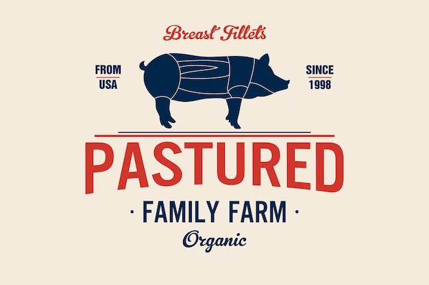 Emblem der metzgerei fleischerei mit schwein silhouette, text the butchery, fresh meat. logo-vorlage für fleischgeschäft - bauernladen, markt, restaurant oder design - banner, aufkleber. vektorillustration