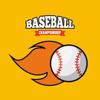 Emblem des baseballsports mit ball auf feuerikone