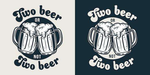 Emblem des bierkruges mit schaum retro