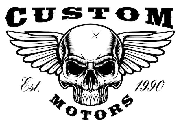 Emblem des schädels mit flügeln auf weißem hintergrund. text befindet sich in der separaten gruppe.