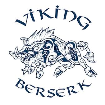 Emblem des schrecklichen berserkers, des wikinger-krieges