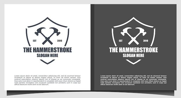 Emblem hammer logo design vektor