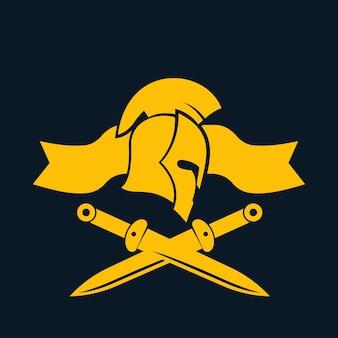 Emblem, logovorlage mit spartanischem helm und schwertern