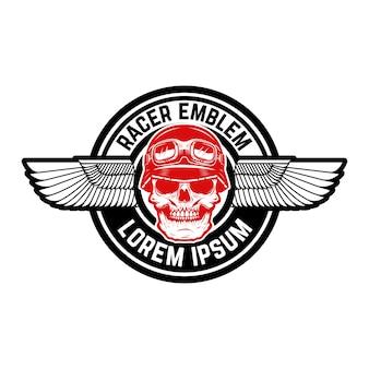 Emblem mit geflügeltem schädel. element für emblem, zeichen, etikett. bild
