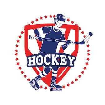 Emblem mit professionellem hockeyspieler und -uniform