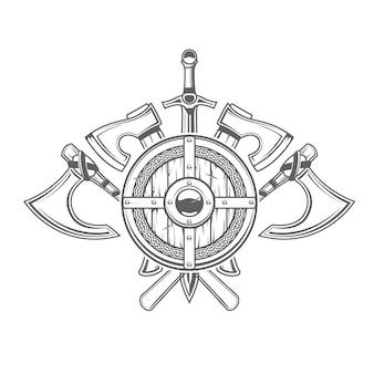 Emblem mit rundem wikingerschild und gekreuzten kalten armen