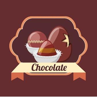 Emblem mit schokoladentrüffeln und schokoladenei über braunem hintergrund