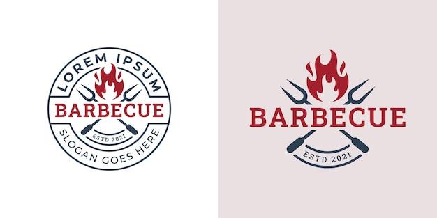 Emblem mit vintage-retro-stil rustikaler bbq-grill, barbecue, barbeque-logo-vorlage