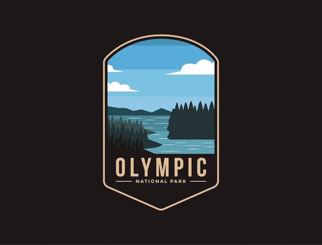 Emblem patch logo illustration des olympic national park