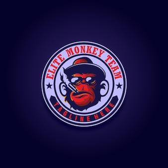 Emblem-vektor-affenaffen-agent den stempel des mafia-affen für eine sportmannschaft rauchen zigarette