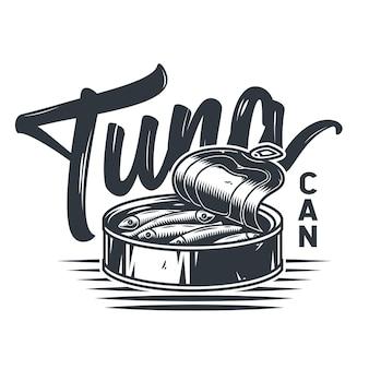 Emblem von sprotten-thunfisch in blechdose