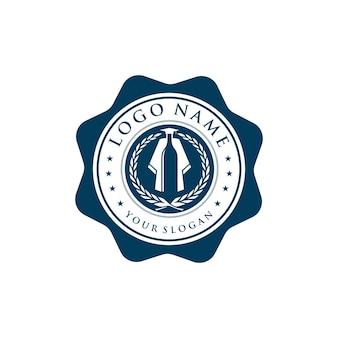 Emblem weinflasche und abschluss einfaches schlankes kreatives geometrisches modernes logo-design