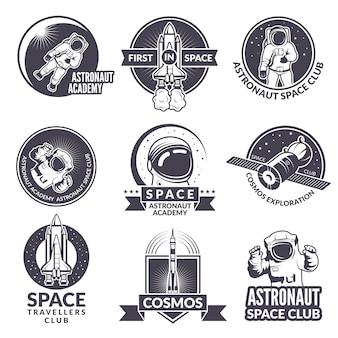 Embleme, aufkleber oder logos des raumthemas