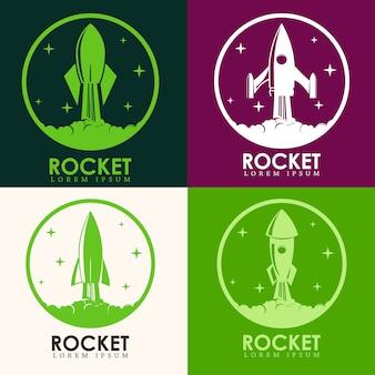 Embleme mit raketenstart. gestaltungselemente für logo, etikett, emblem, zeichen, markenzeichen.