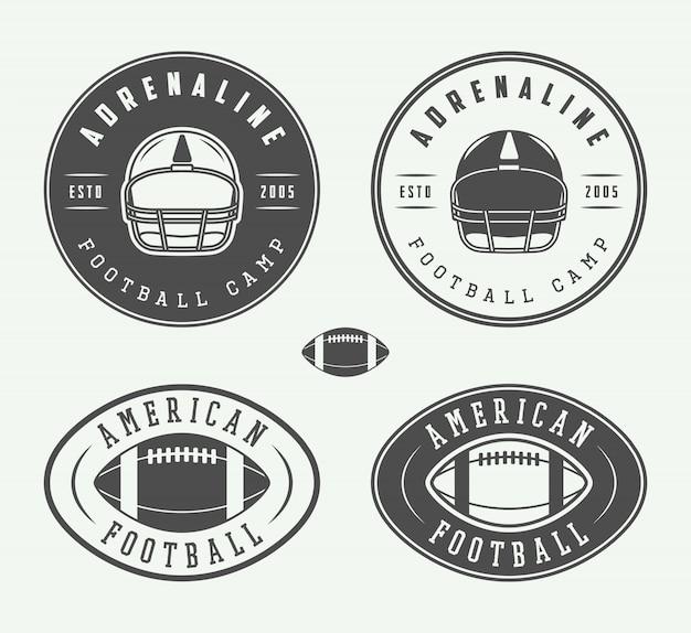 Embleme und logo des amerikanischen fußballs.