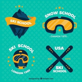 Emblems packung von skischulen
