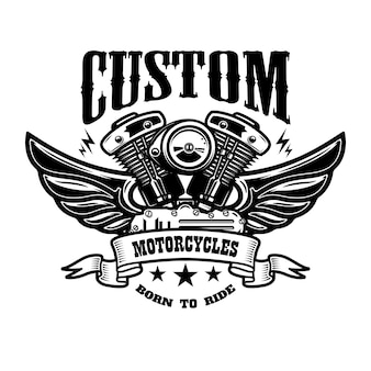 Emblemschablone mit geflügeltem motorradmotor. gestaltungselement für plakat, logo, etikett, zeichen, t-shirt.