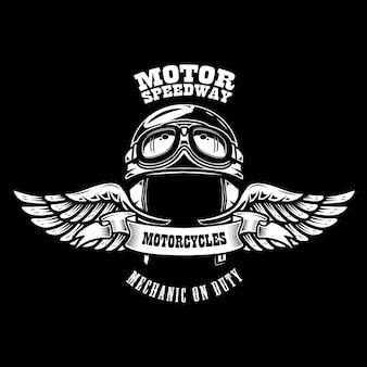 Emblemschablone mit geflügeltem motorradrennerhelm. gestaltungselement für plakat, t-shirt, zeichen, abzeichen.