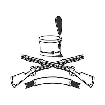 Emblemschablone mit gekreuzten gewehren und husarenhut.