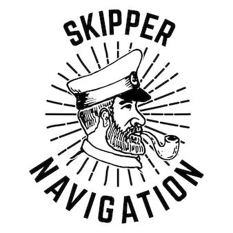 Emblemschablone mit handgezeichnetem kapitänskopf.