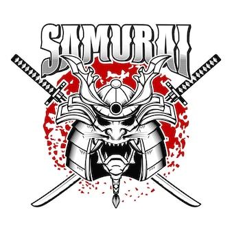 Emblemschablone mit samurai-helm und gekreuzten katanas