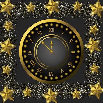 Emblemuhr mit sternen, zum des neuen jahres zu feiern