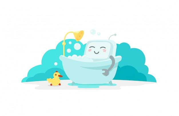Emoji aufkleber roboter nimmt bad im badezimmer. sehr niedliche bildauflage, peeling-schaumshampoo. pause für ruhe. flache farbabbildung