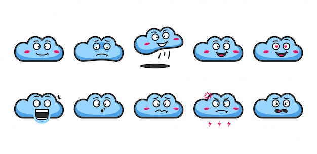 Emoji-ausdruck des blauen wolkenkarikaturcharakters emoticon-gesichtsausdrucksatz