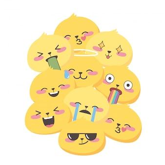 Emoji-ausdrücke der sozialen medien stehen vor dem lustigen hintergrund des cartoons