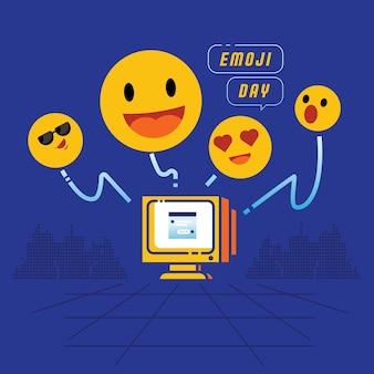 Emoji, das von der desktop-computer-vektorillustration mit lächeln-emoticon, cool, liebe und wow sendet.