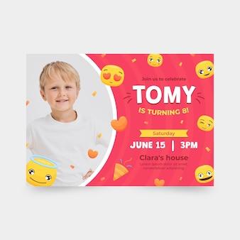 Emoji geburtstagseinladungsschablone mit foto