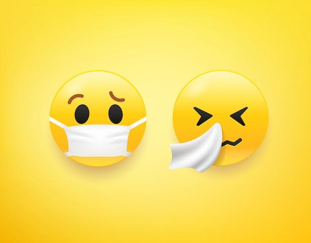 Emoji gesetzt. viruspräventionskonzept