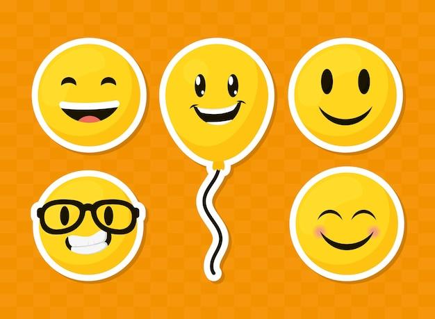 Emoji-gesichter und ballon