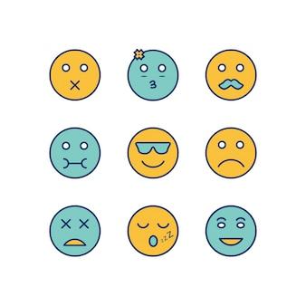Emoji-ikonen-blatt lokalisiert auf weißem hintergrund