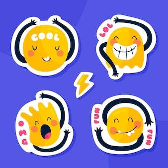 Emoji-illustrationsaufklebersammlung