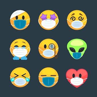 Emoji im flachen design mit gesichtsmasken