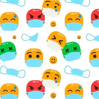 Emoji im flachen design mit gesichtsmaskenmuster