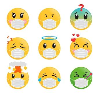 Emoji im flachen design mit gesichtsmaskenpaket