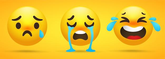 Emoji-kollektion, die emotionen, traurigkeit und weinen zeigt