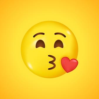 Emoji mit fliegendem kuss rotem herzen und zwinkerndem augengesicht. ein gelber gesicht emoji kuss. großes lächeln in 3d