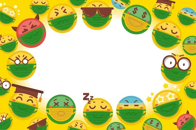 Emoji mit gesichtsmaskenhintergrund