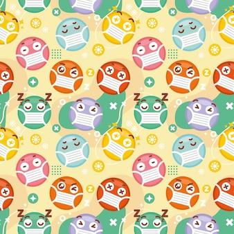 Emoji mit gesichtsmaskenmuster