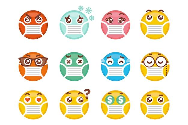 Emoji mit gesichtsmaskenpaket