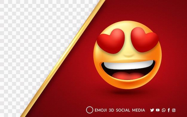 Emoji mit roter liebe und einem fröhlichen lächeln