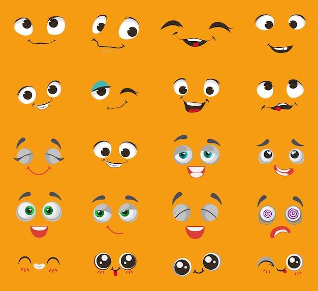 Emoji niedlichen cartoon-zeichensatz vektor-illustration comic-emoticon mit traurigen glücklichen verrückten gesichtsausdruck ...