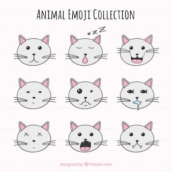Emoji packung von niedlichen katze