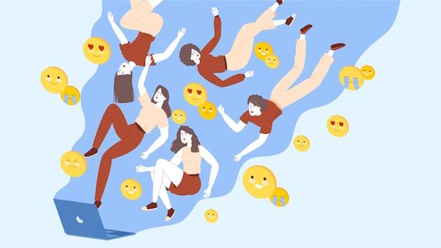 Emoji und die zielgruppe fliegen aus dem laptop-bildschirm. social media influencer konzept.